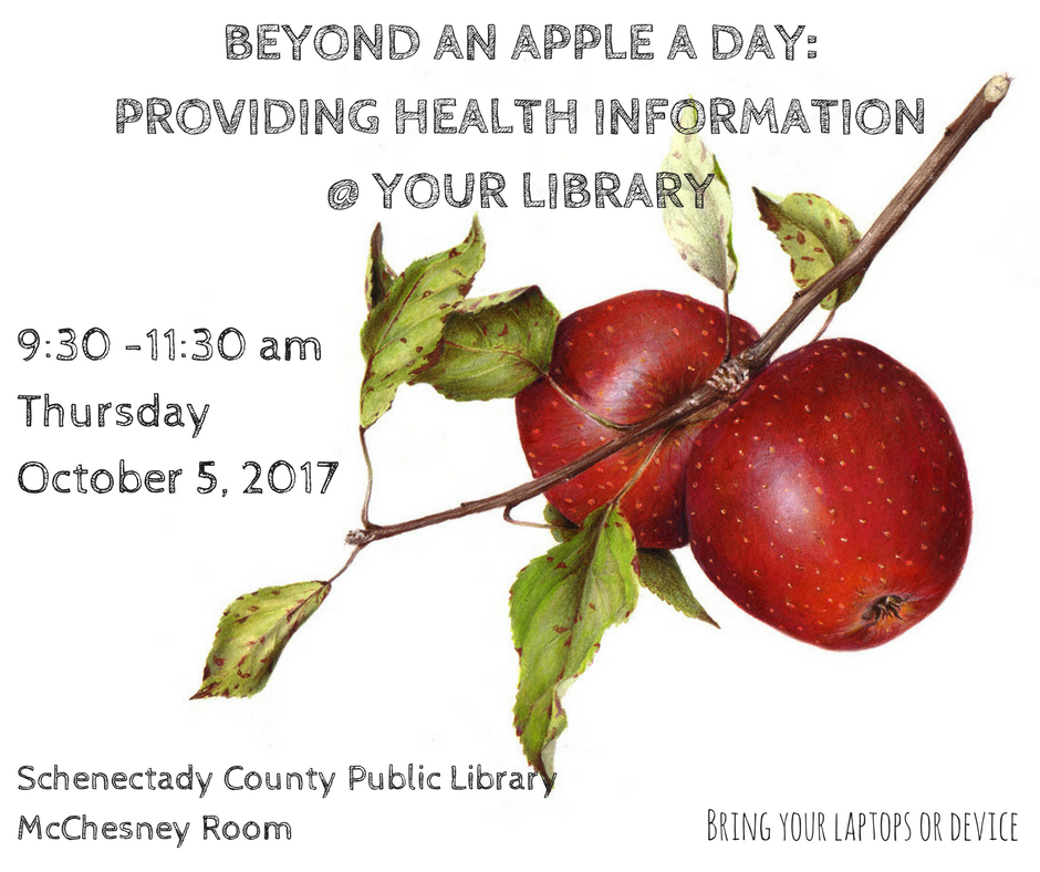 Two apples on a branch with words reading Beyond an Apple a Day Providing Health Information at Your Library
